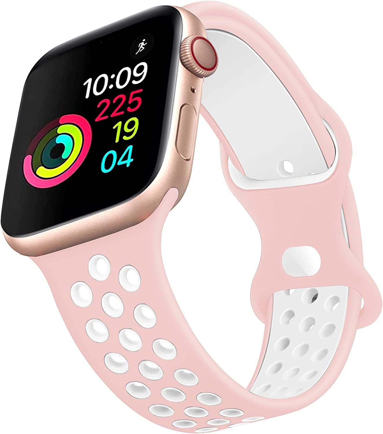 Sport Band Compatible with Apple Watch 42MM 44MM,Soft Silicone Replacement Strap Compatible for Apple Watch Series 6/5/4/3/2/1/SE (Pink white, 38mm/40mm (S))