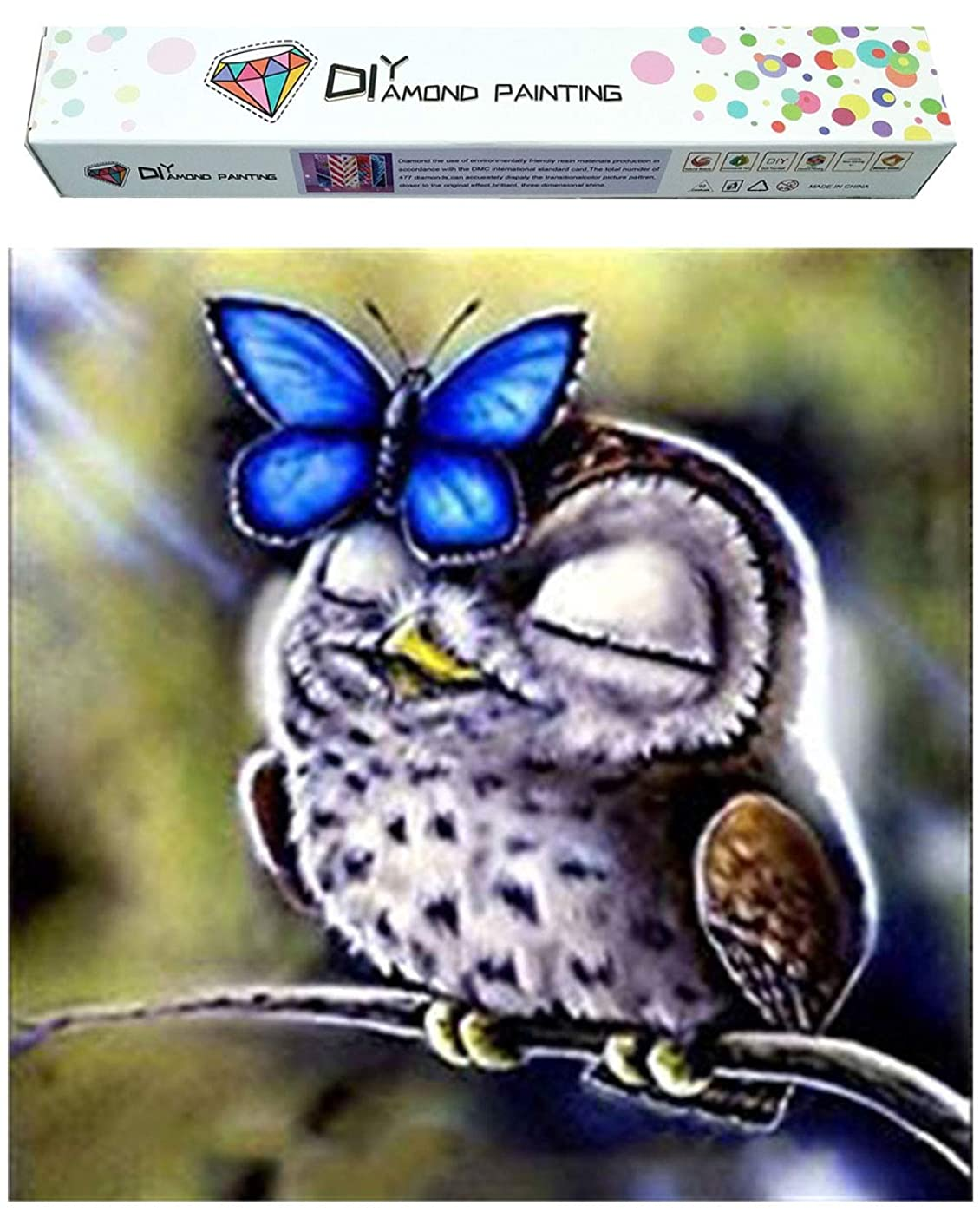 Dylan's Cabin DIY 5D Diamond Painting Kits for Adults,Full Drill Embroidery Paint with Diamond for Home Wall Decor(Owl/16x16inch)