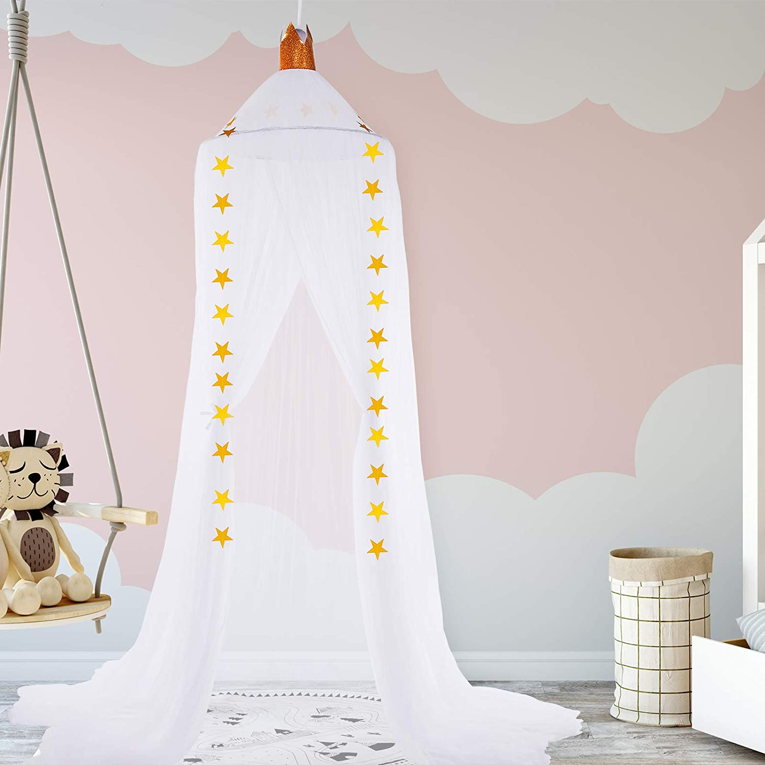Kids Bed Canopy Crib Canopy Stars Round Dome Hanging Mosquito Net Curtains Baby Crib Game Tent Nursery Play Room Indoor Outdoor Children Toddler Reading House Nook Decoration (White)