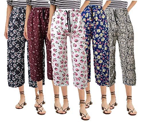 BRAND FLEX Women's Cotton Capri, Capri for Women, Nightwear Capri for Women, Printed 3/4 Pyjama, Prints May Vary (Assorted Capri) (Medium, 5 Pack)