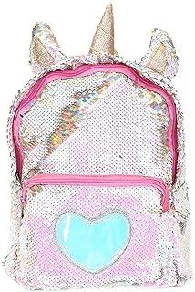 Magibag Unicorn Sequin Backpack Glitter Shining Bag Lovely Heart Casual Travel Daypack for Girls (Gold)