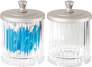 mDesign Fluted Bathroom Vanity Storage Organizer Canister Apothecary Jar for Cotton Swabs, Rounds, Balls, Makeup Sponges, Bath Salts - 2 Pack - Clear/Satin
