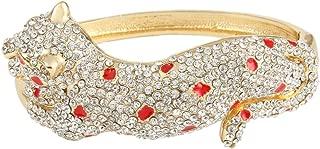 Women's Austrian Crystal Enamel Leopard Hinged Bangle Bracelet Clear