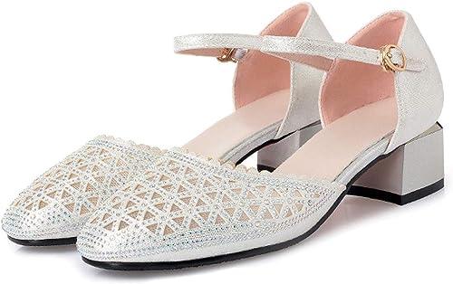ZPFMM Sandalias elegantes para damen Punta estrecha Tacones altos Bloquear Talón Tobillo Correa Bailarinas de baile