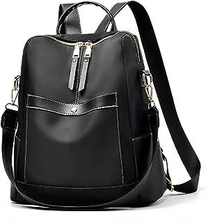 حقيبة ظهر سوداء للنساء، حقائب الكتب الصغيرة من النايلون للفتيات المراهقات حقائب الكتف النسائية