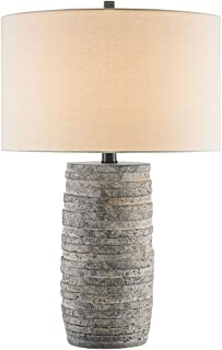 Currey and Company 6782 Innkeeper - One Light Table Lamp, Rustic Finish with Vanilla Linen Shade