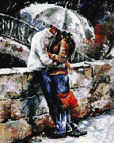 Diamond volledig bedekt met houten frame schilderset afbeelding 40 x 50 diamant schilderij borduurwerk handwerk knutselen mozaïek stenen bloemen mand huis aan de bas (GJ927)