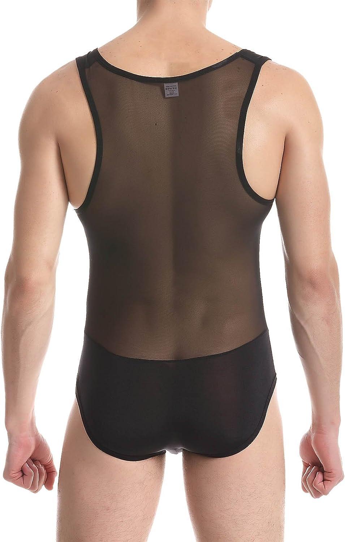 Cedir Men's See Through Wrestling Singlet Splice Vest Swimwear Leotard Bodysuit