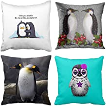 Emvency Set of 4 Throw Pillow Covers Penguins Penguin Love I Like You a Lottle Holiday Couple Decorative Pillow Cases Home Decor Square 20x20 Inches Pillowcases