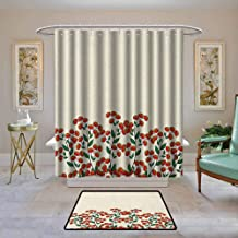 Waterproof Fabric Shower Curtain Nature,Red Clusterberries in Bush Leaves Garden Christmas Theme Image Print, Olive Green Red and Peach,Machine Washable - Shower Hooks are Included 36