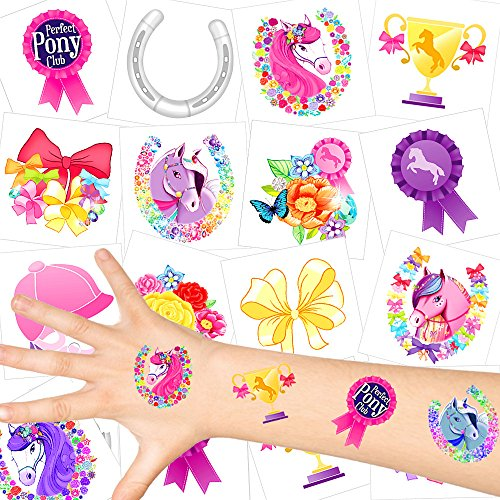 German-Trendseller® - Pferde Kinder Tattoos - Set ┃ NEU ┃ Pferde Party ┃ Kindergeburtstag ┃ Mitgebsel ┃72 Tattoos