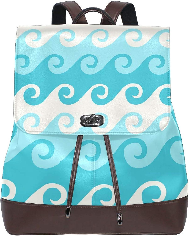 FAJRO Refreshing Cartoon Ocean Waves Travel Backpack Leather Handbag School Pack