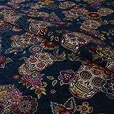 Hans-Textil-Shop Stoff Meterware Totenkopf Blumen