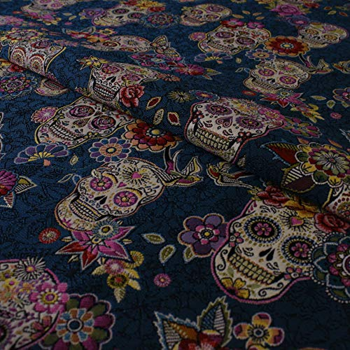 Hans-Textil-Shop Stoff Meterware Totenkopf Blumen (Mexikanisch, Südamerika, Vorhang, Möbelbezug, Deko, Nähen) - 1 Meter