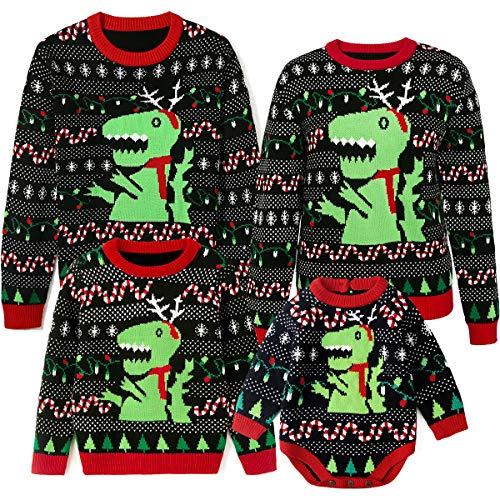 Simplee kids Ugly Christmas Sweater Family Matching Outfits for Holiday Party Knitted Pullover for Winter 7-8T Kids