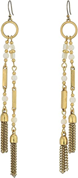 Lucky Brand White Beaded Tassel Earrings
