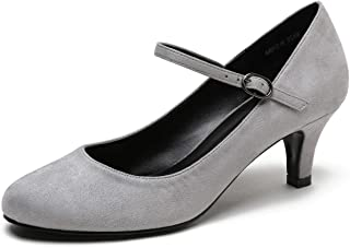 CAMSSOO Women's Closed Toe Low Mid Heel Ankle Strap Dress Pump Shoes Grey Size: 9.5