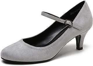 CAMSSOO Women's Closed Round Toe Ankle Strap Kitten Heel Pumps/Dress,Work,Formal,Dance Party Low Heels