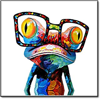 HMEWOD Canvas Wall Art Abstract Oil Painting Printed on Canvas - Cute Frog Wearing Glasses, Home Living Room Decoration - no Frame,6060cm