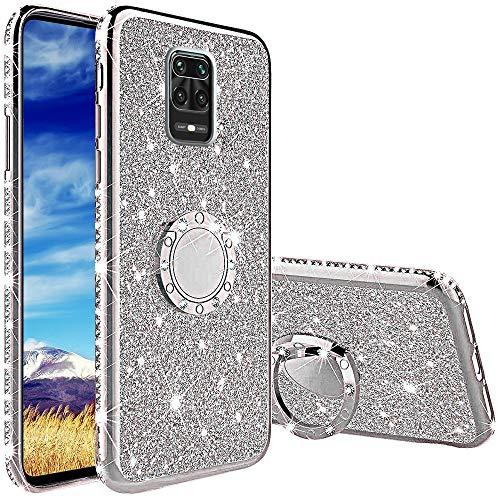 Cover per Xiaomi Redmi Note 9S/ Note 9 PRO/ 9 PRO Max, Glitter Lusso Strass Diamante Bling Diamanti Custodia con 360 Gradi Rotante Supporto Ring Kickstand Protezione Morbido Silicone TPU - Argento