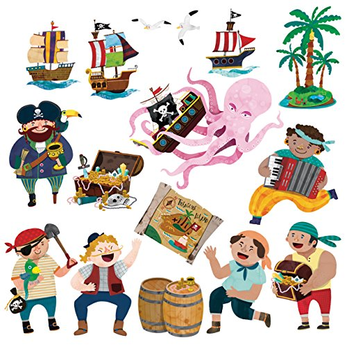 DECOWALL DS-8010 Pirates & Treasure Island Kids Wall Stickers Wall Decals Peel and Stick Removable Wall Stickers for Kids Nursery Bedroom Living Room (Small) d