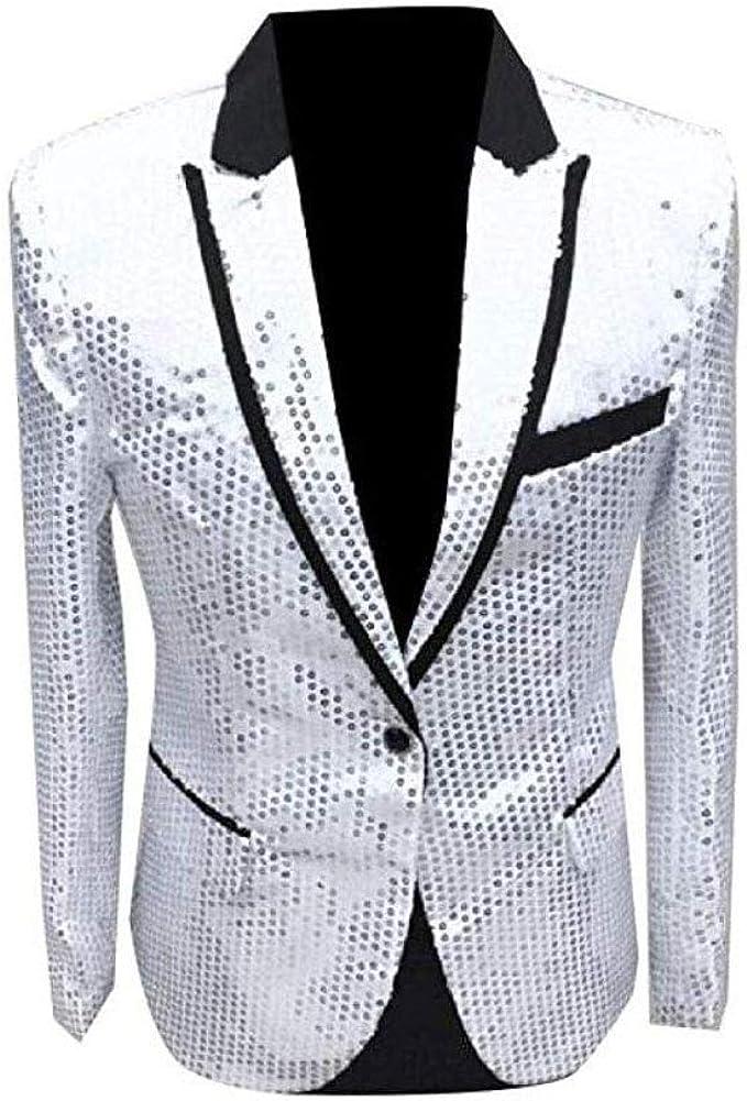 Men's White One Button Blazer Sequined Nightclub Tuxedo Jacket Wedding Coat White 42/36