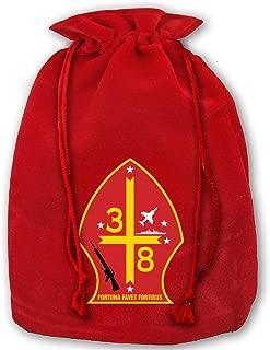 NYSOUVENIRS Bag 3rd Battalion 8th Marine Regiment Merry Christmas Drawstring Beam Port Canvas Storage Bag Gift Bag Hometom Christmas