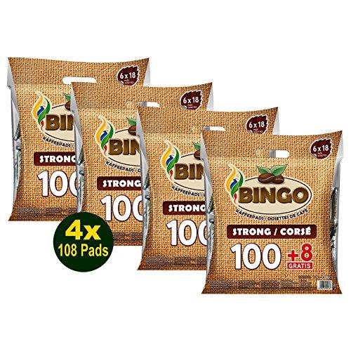 Bingo Kaffeepads Dark Roast, 100 + 8 Pads 4x 756g (3024g) - mit nachhaltiger Crema