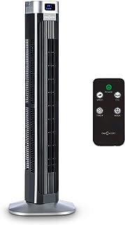 Oneconcept Hightower 2G - Ventilador Vertical, 3 velocidades, 3 Modos de Funcionamiento, Oscilación, Temporizador, Pantalla LCD, Potencia de 42 W, Caudal de 1.807 m³/h, Mando a Distancia, Negro