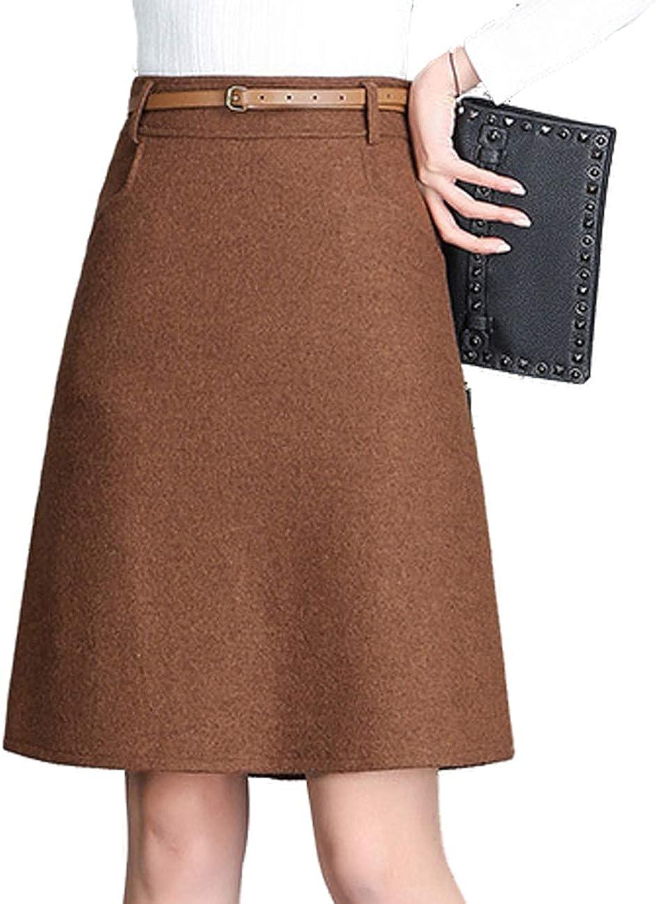 Femirah Women's A-Line Casual Wool Blend Plaid Flared Skirt