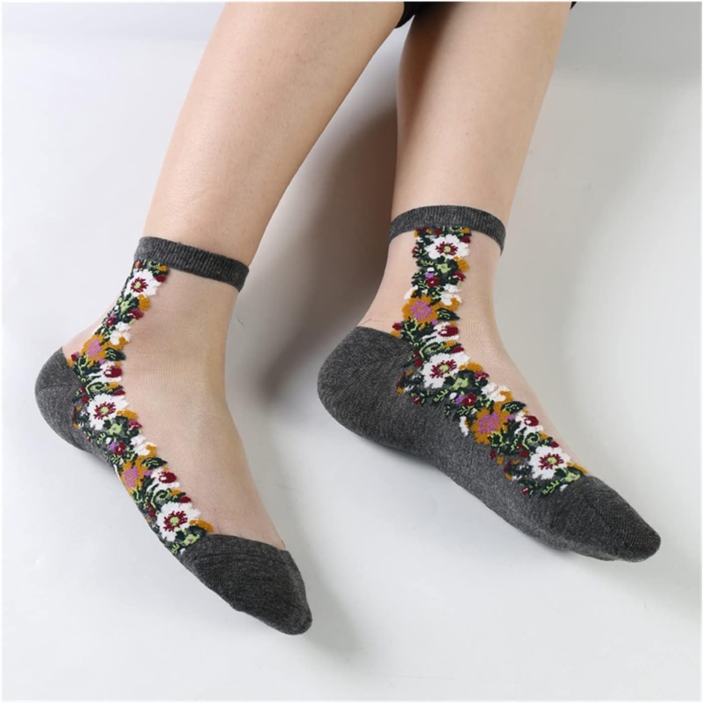 Moonlight Star Spring Summer Thin Glass Mesh Socks Women Ankle Floral Fishnet Cotton Transparent Socks (Color : Style C)