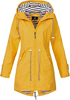 RINZON Women's Zip Up Waterproof Striped Hood Parka Raincoat Hooded Drawstring Windproof Outerwear Trench Coat