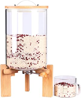 Glass Dry Food Dispenser, Glass Food Storage Canister with Airtight Bamboo Lid, Wooden Stand and Glass Cup for Rice, Beans and Coffee Beans (7.5L)