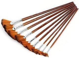 Juego de pinceles de pintura de ventilador de 9 piezas, pinceles de nylon para el cabello Mango de madera Cepillo de mango largo en forma de abanico para pintura de acrílico con aguadazo Gouche