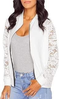 xiaohuoban Womens Floral Print Baseball Bomber Jacket Slim Casual Zip up Outwear