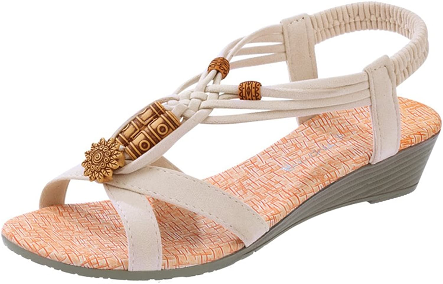 CYBLING Fashion Bohemian Wedge Sandals shoes for Women Elastic Strap shoes
