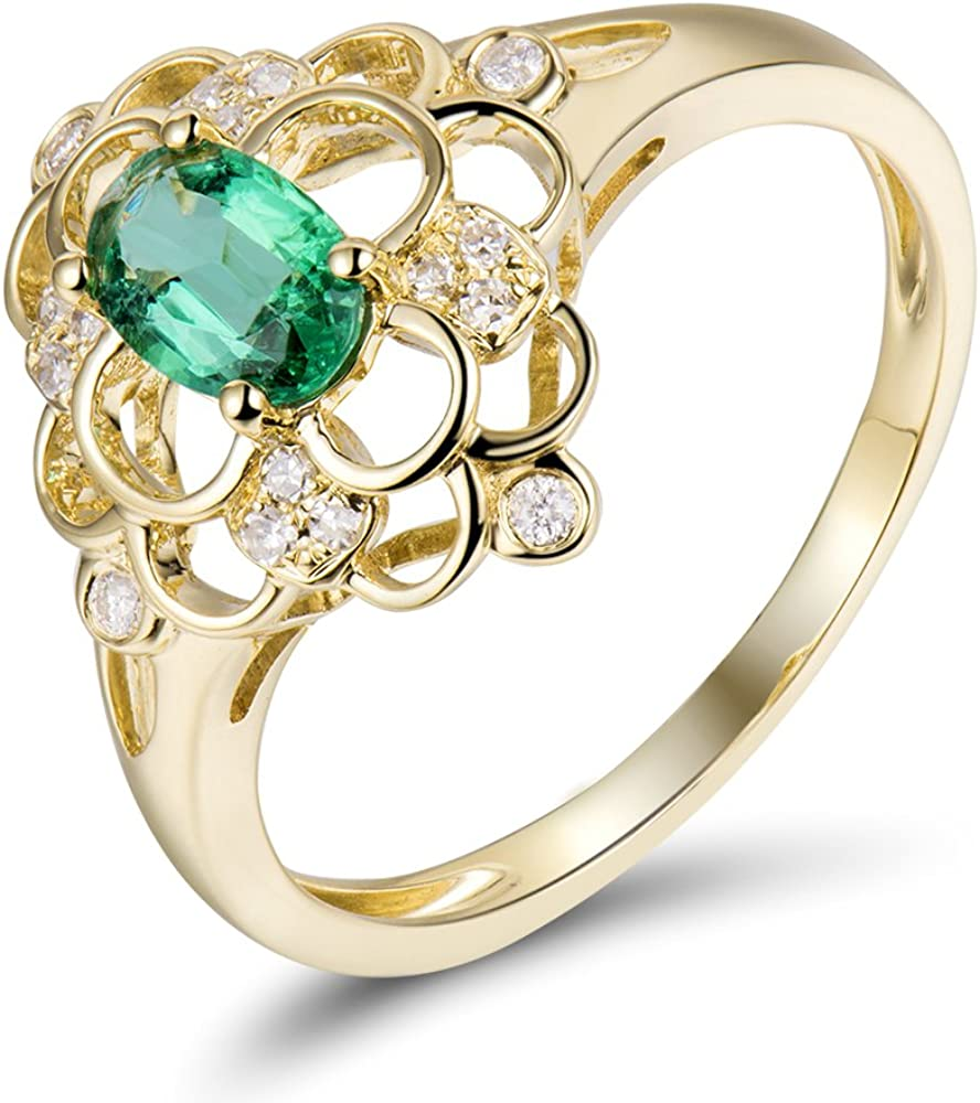 Lanmi Solid 14K New arrival Rose Yellow Emerald Gold Rings Engagemen OFFicial site Natural