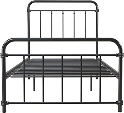 DHP Winston Metal Bed Frame, Multifunctional Piece with Adjustable Heights for Under Bed Storage, Black - Twin