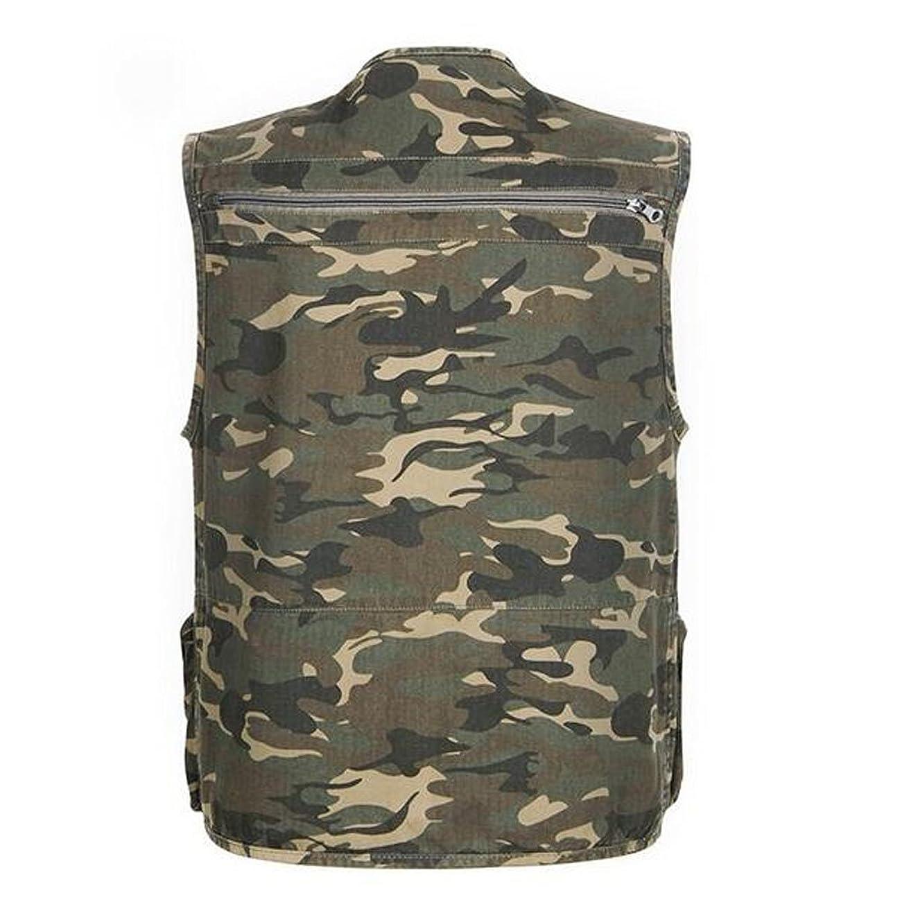 孤独な寄生虫防腐剤通気性 メンズ マルチ ポケット 迷彩 ベスト 狩猟 釣り アウトドア ジャケット 5サイズ選べる