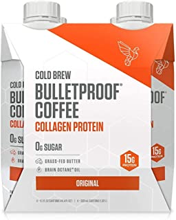 Bulletproof Original Cold Brew Coffee Plus Collagen Protein Peptides, Keto Diet Friendly, Sugar Free, non-GMO, organic, with Brain Octane oil and Grass-fed Butter (Original) (4-Pack)