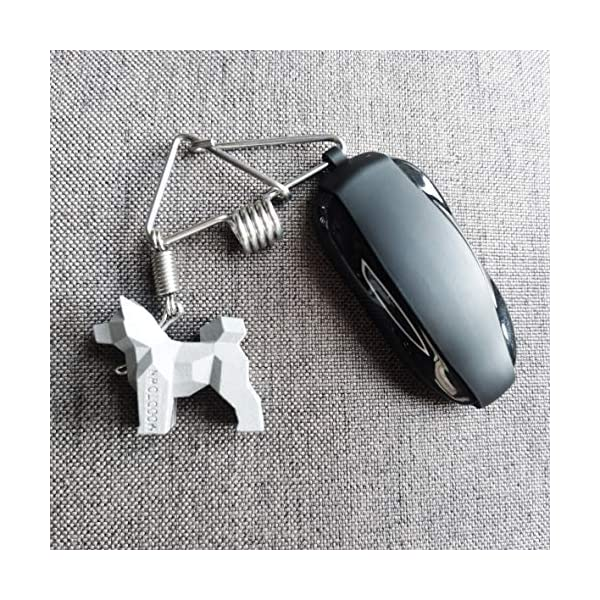 MOODTOWN Handcrafted Stainless Steel Dog Keychain Gift for Men and Women Car Keyring Car Rear View Mirror Hanging Accessory