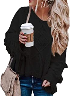 Women Tassel Long Sleeve Cable Knit Pullover Sweater Jumper Tops