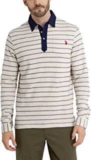 U.S. Polo Assn. Mens Long Sleeve Stripped Pique Polo Shirt with Roll Up Sleeves
