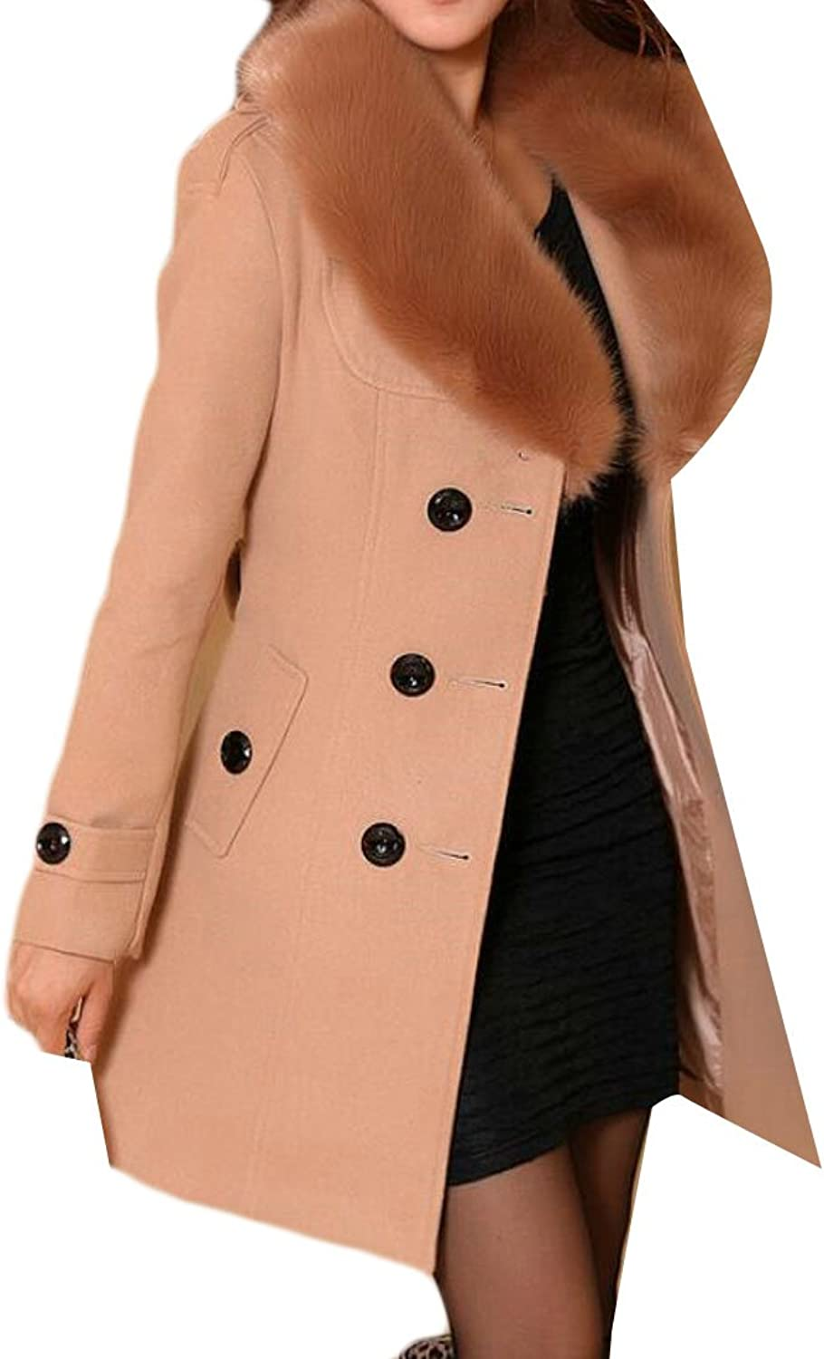 BYWXWomen Long Sleeve Thick Faux Fur Collar Winter Warm Pea Coat