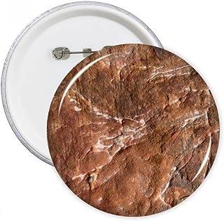 Reddish Brown Rock Rough Surface Naturelle Illustration Motif Broches Rondes Badge Button Vêtements Décoration Cadeau 5pcs S