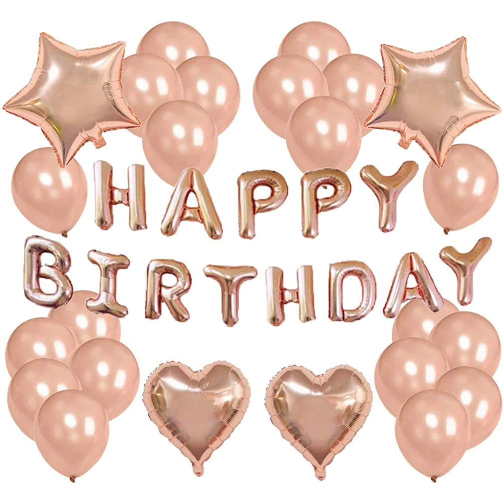 Rose Gold Birthday Party Decorations for Women and Girl - Happy Birthday Balloon Banner, Heart & Star Foil Balloons, Quality Latex Balloons