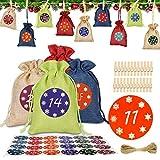 HOSPAOP 24 Calendario de Adviento, Bolsa de Regalo Navidad Decoración con 1-24 Pegatinas Digitales, 24 Clip de Madera y Hilo de Algodón, Bolsas de Yute para Decoración Navideña