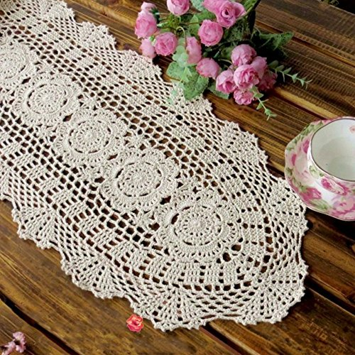 "yazi Rustic Crochet Table Runner Cotton BeigeTable Doilies Handmade Table Runner for Dinning Room 11.8""X23.6"""