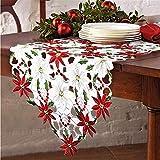 AAQQ Decorazione per tovaglia, tovaglia Ricamata con Stella di Natale e Foglie di Agrifoglio , Decorazione della tavola per la casa Articoli per Feste