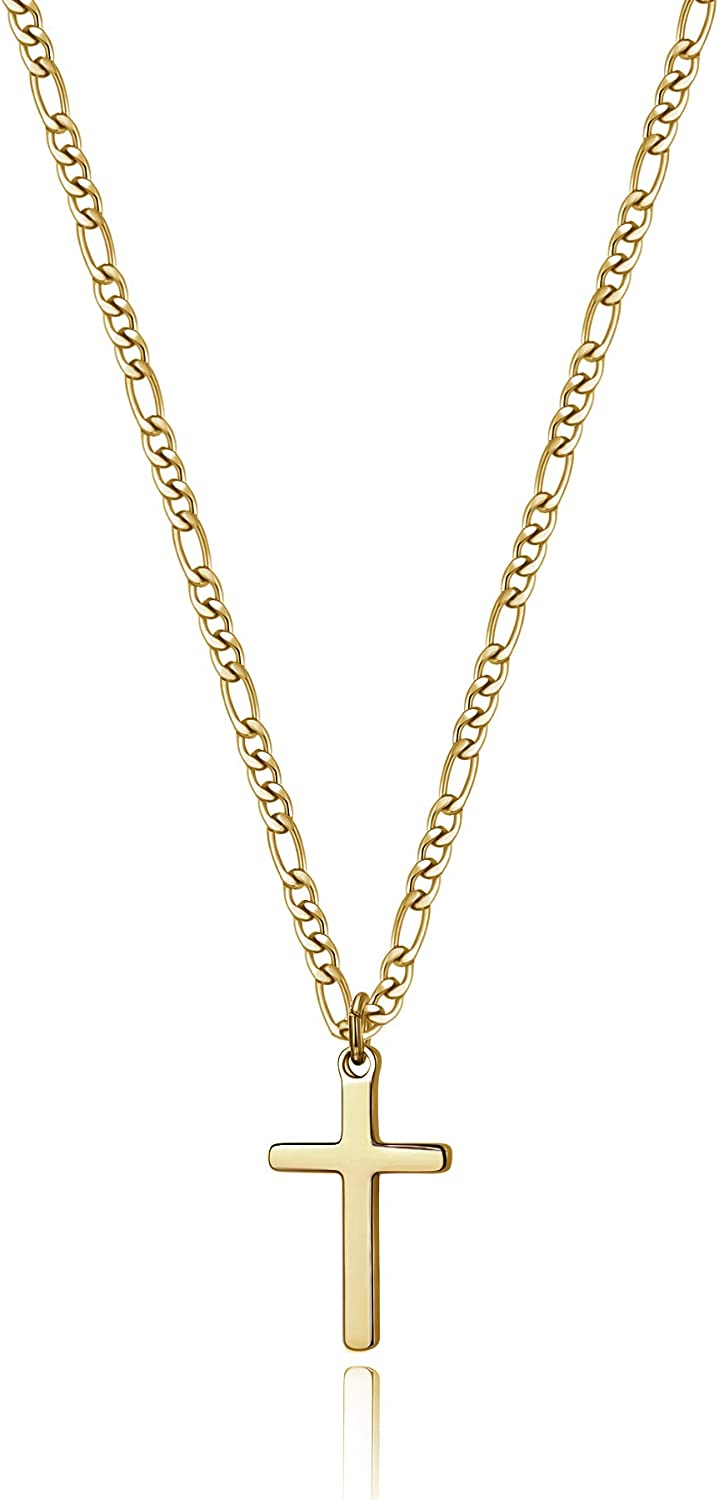 14K Gold Filled Cross Necklace for Men Figaro Chain Stainless Steel Plain Polished Cross Pendant Necklace Simple Faith Jewelry Gift for Boy Women Girls 16-24 Inches